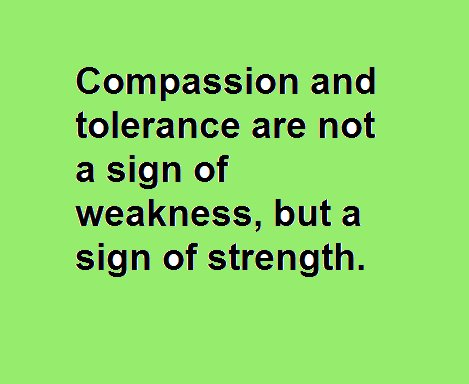 Compassion and tolerance are not a sign of weakness, but a sign of strength.